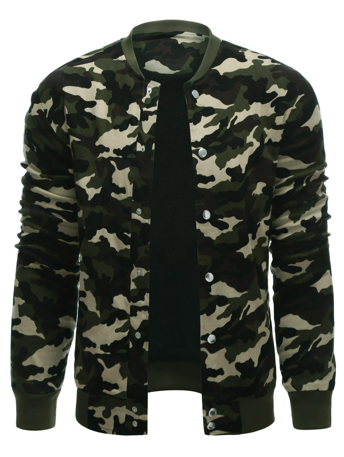 Snap Button Up Rib Cuff Camo Jacket - CAMOUFLAGE COLOR S