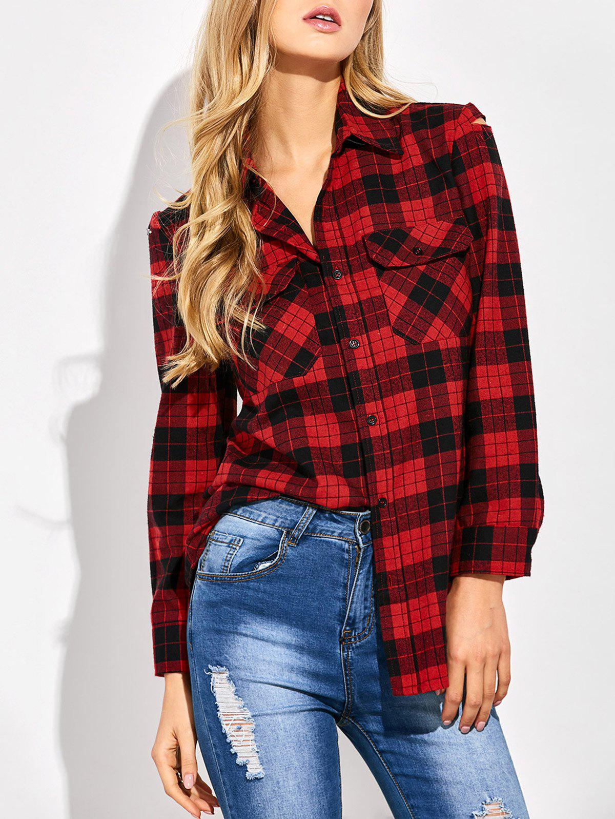 Casual Tartan Check Oversized Shirt - RED/BLACK S