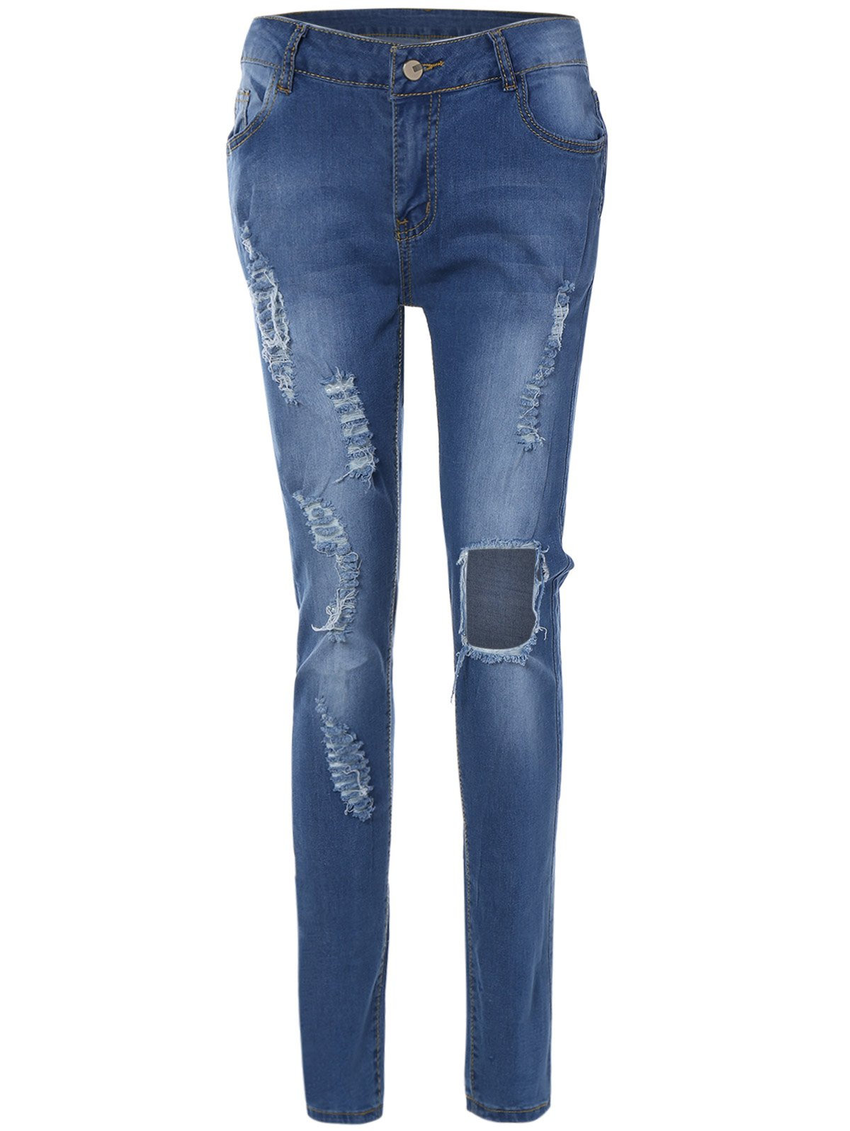 Patch Design Skinny Ripped Jeans With Pockets - BLUE S