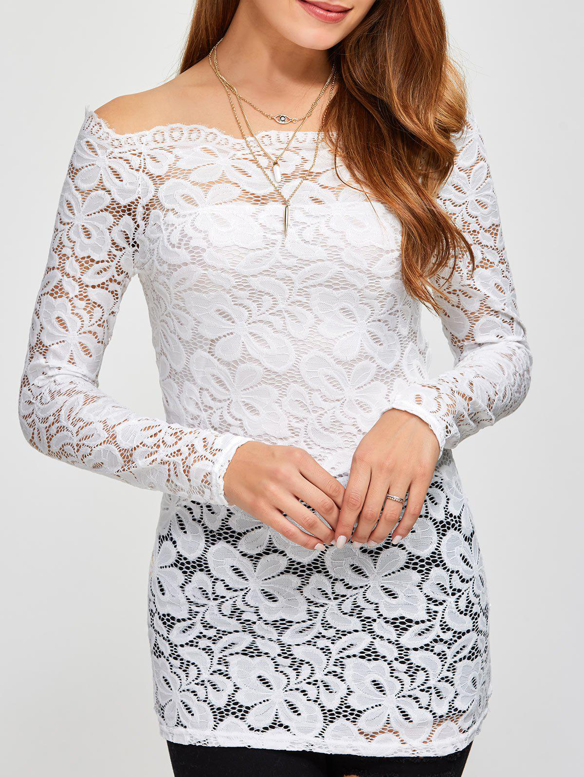 Off The Shoulder Scalloped Lace Blouse - WHITE S