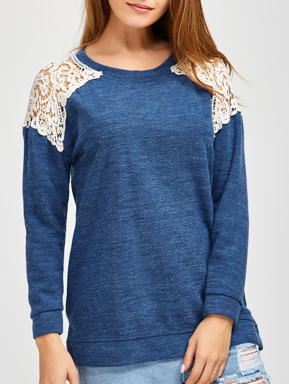 Slit Lace Spliced Loose Sweater - BLUE S