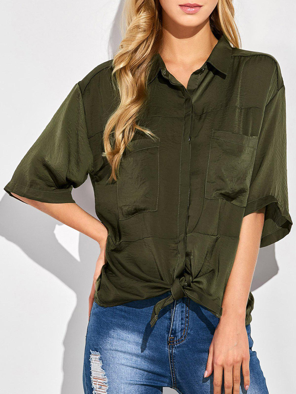 Tie Front Casual Shirt - GREEN L