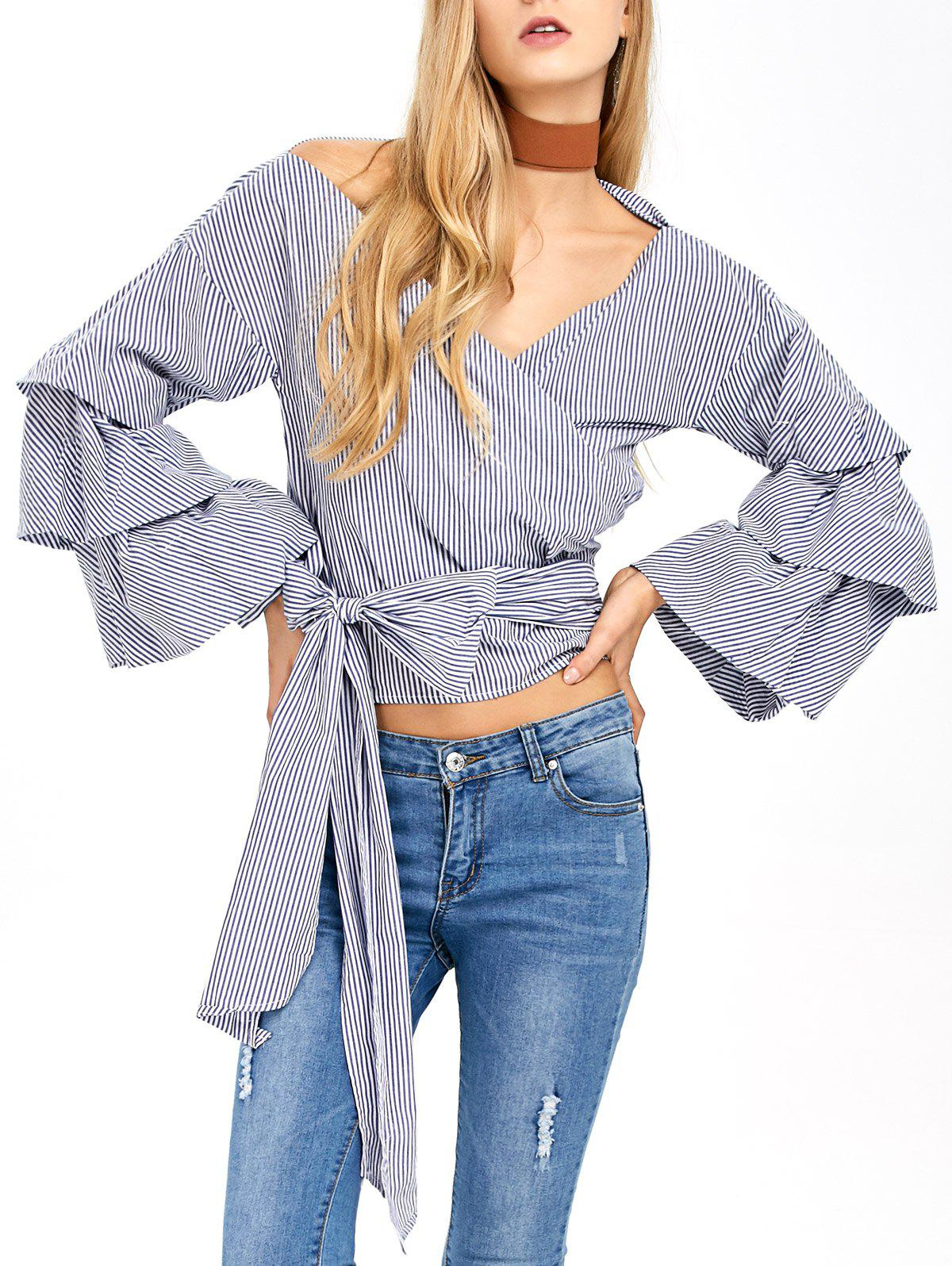V Neck Layered Sleeve Striped Wrap Blouse - BLUE/WHITE S