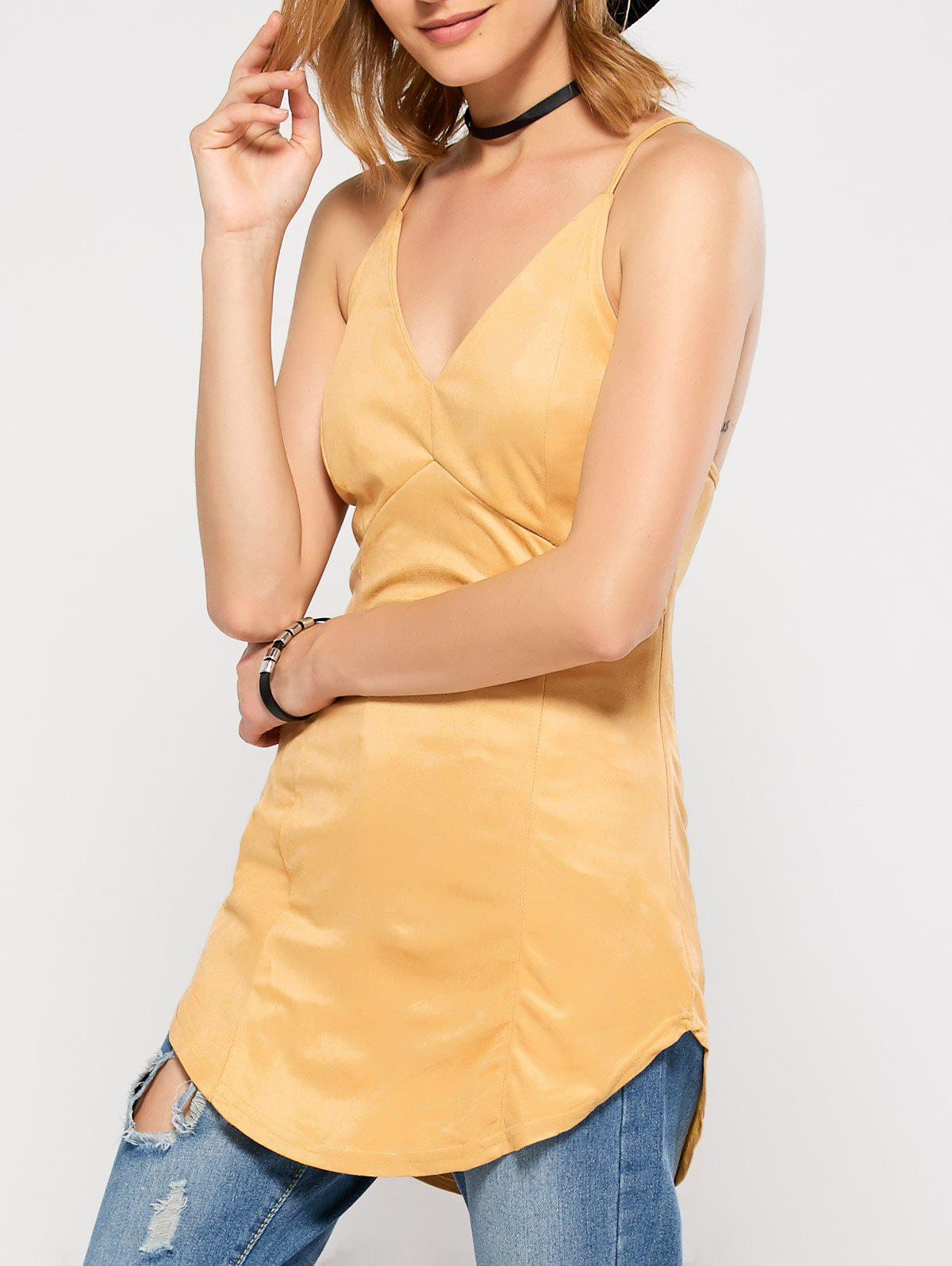 Criss Back Suede Cami Top - YELLOW M