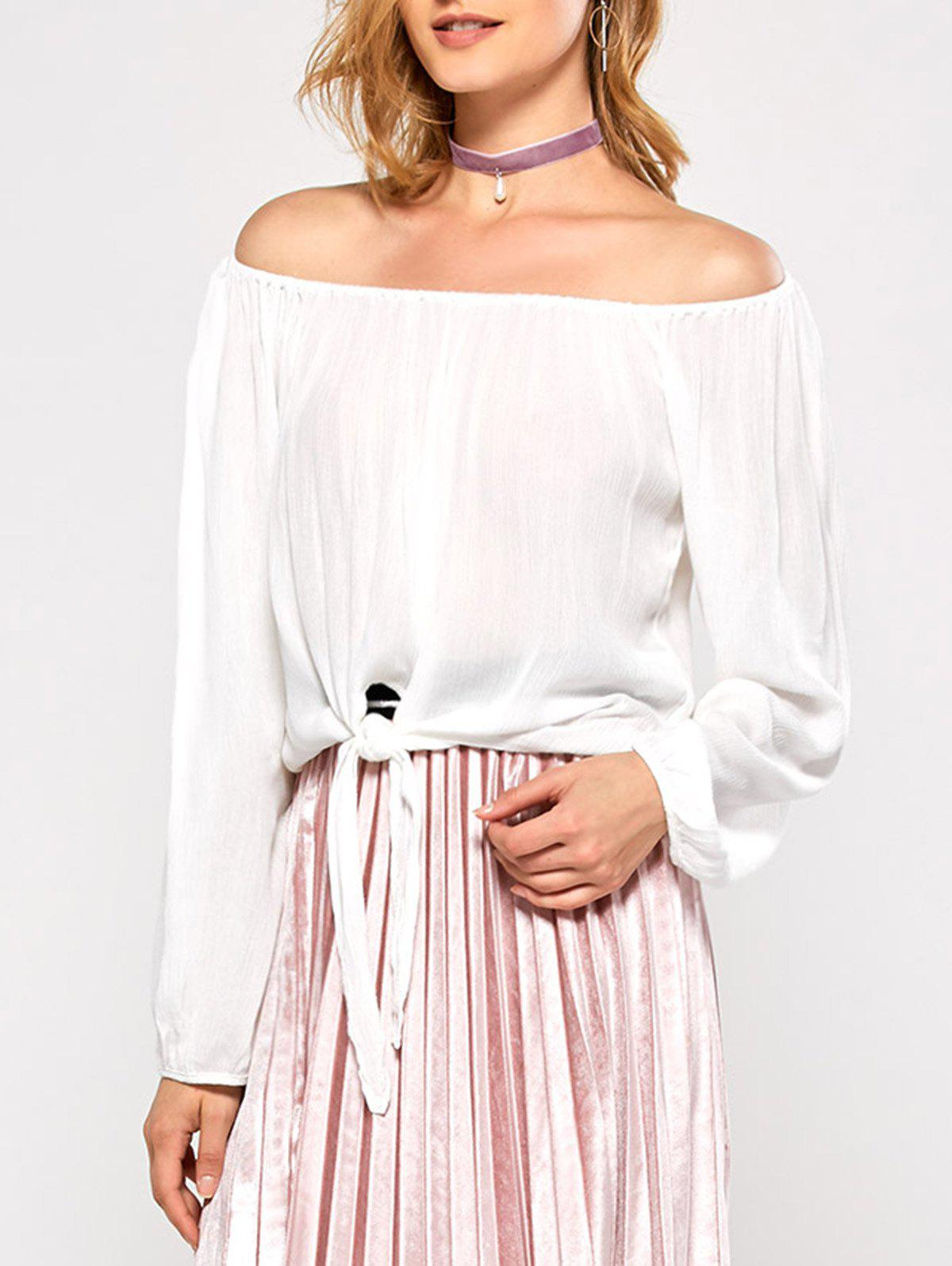 Off The Shoulder Bubble Sleeve Blouse - WHITE M