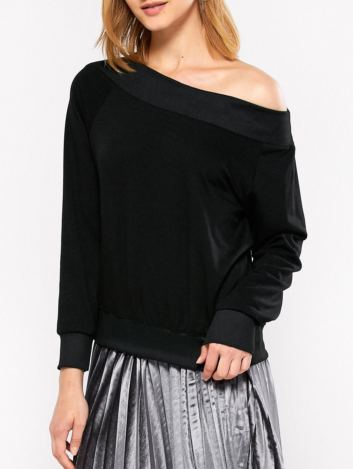 One-Shoulder Casual Loose Sweatshirt - BLACK M
