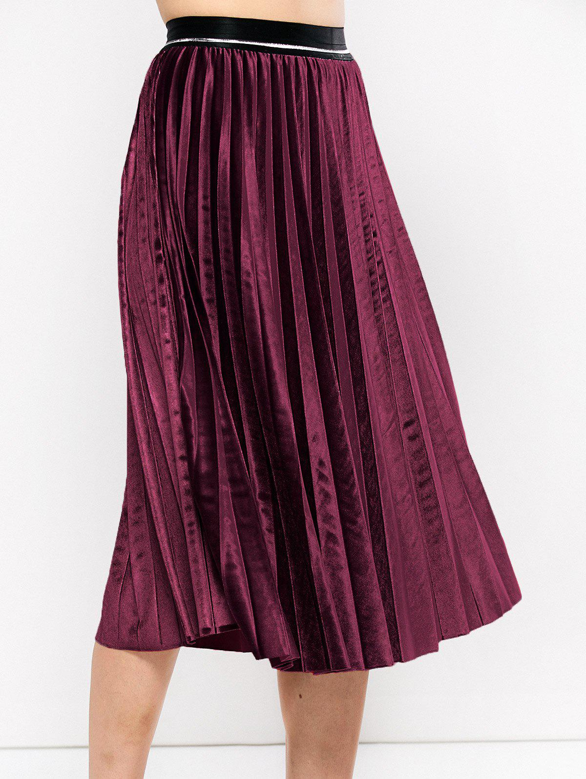 Pleated Midi Velvet Skirt - BURGUNDY ONE SIZE