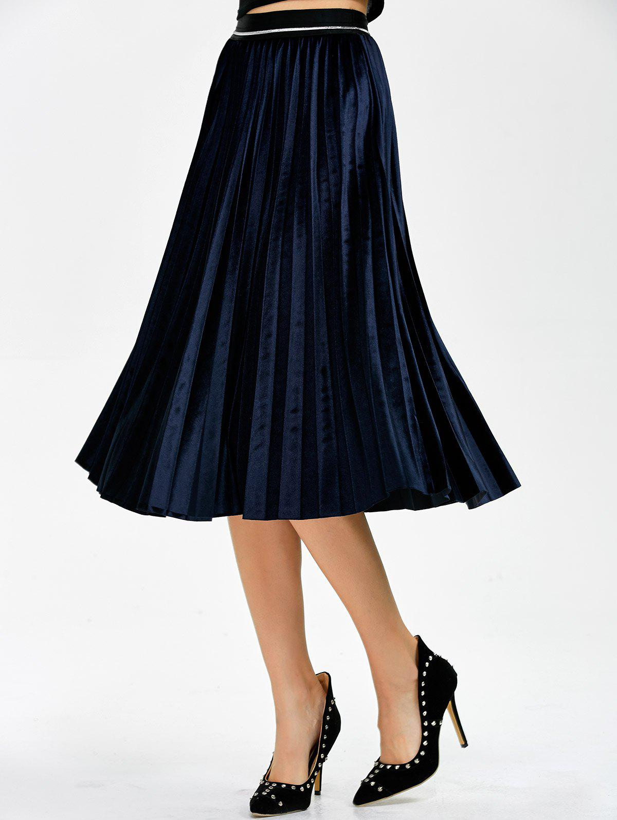 Pleated Midi Velvet Skirt - CADETBLUE ONE SIZE
