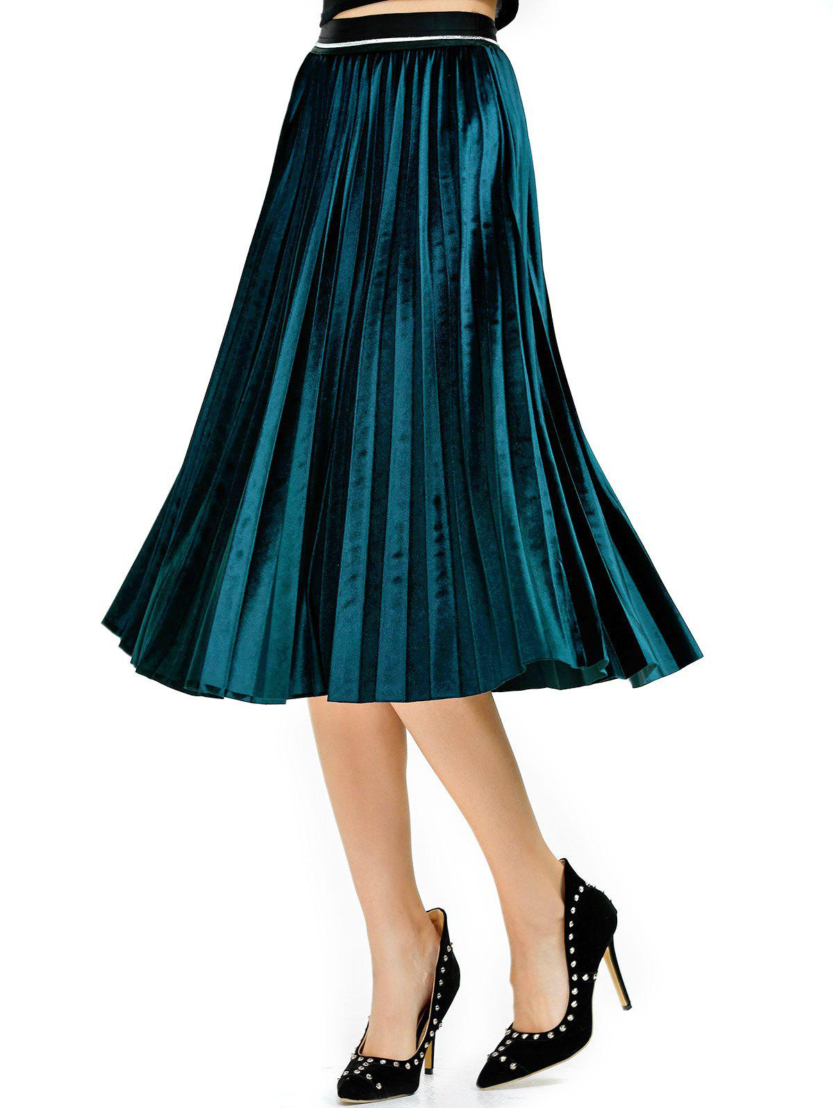 Pleated Midi Velvet Skirt - LAKE BLUE ONE SIZE