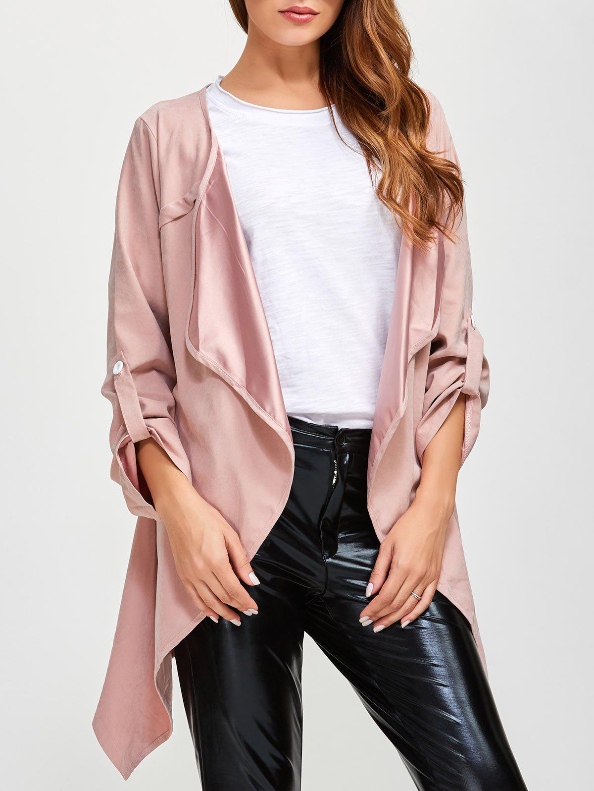 Drape Front Rolled Sleeve Coat - PINK XL