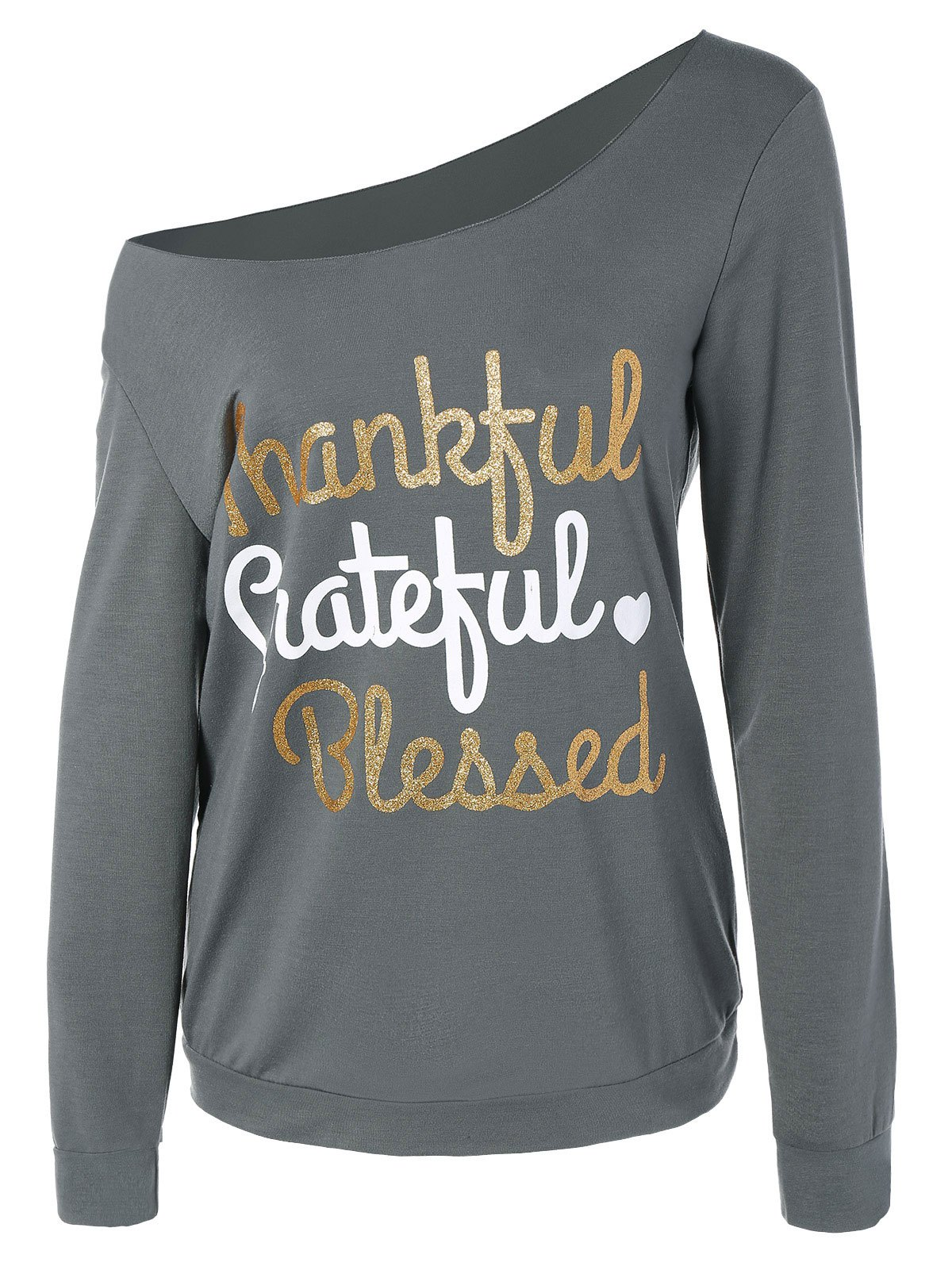 Thanksgiving Skew Collar Letter Graphic Tee - GRAY M