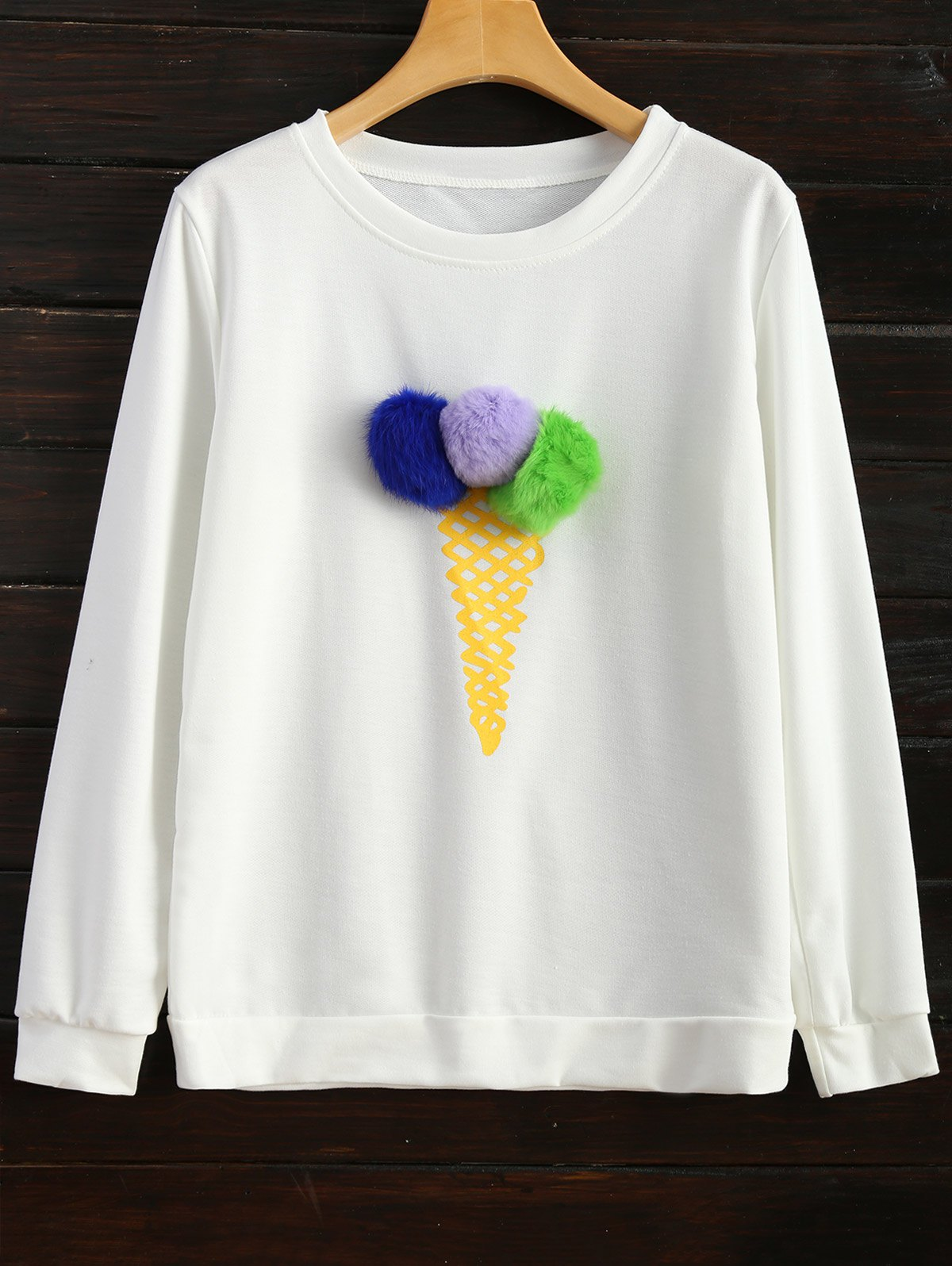 Icecream Cone Pullover Sweatshirt - WHITE XL
