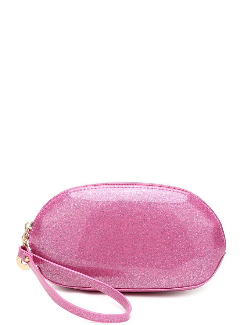 Patent Leather Zipper Around Wristlet - PINK