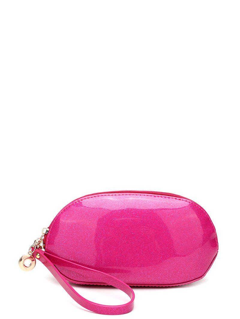 Cuir verni Zipper Around Wristlet - rose