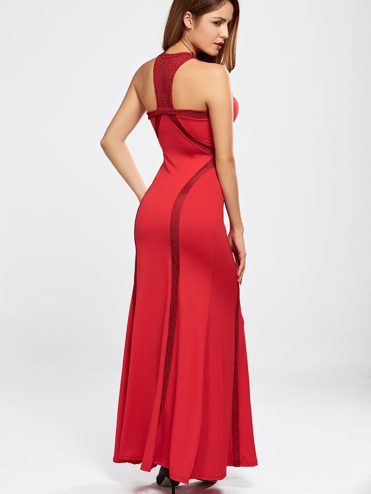 Maxi Fitted Racerback Prom Evening Dress - RED S