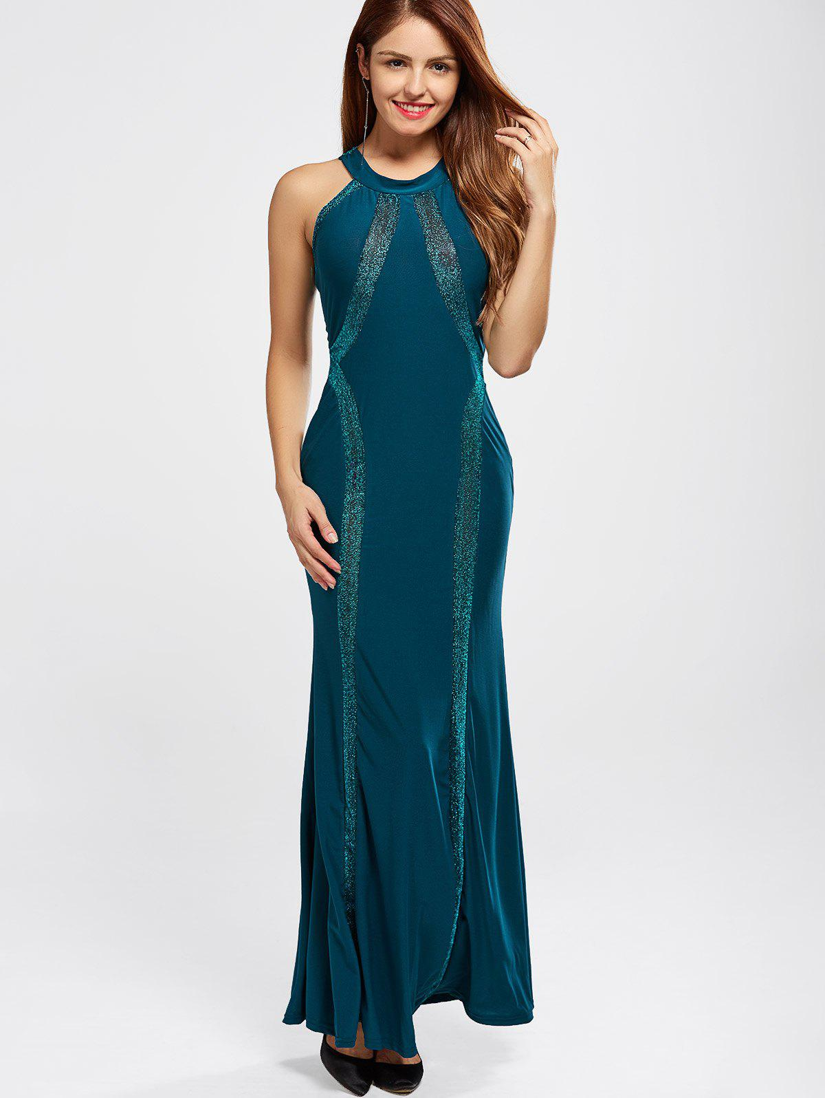 Maxi Fitted Racerback Prom Evening Dress - PEACOCK BLUE M