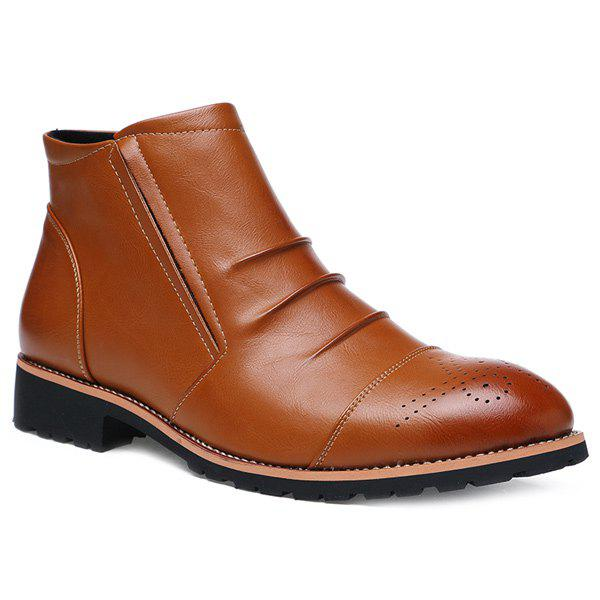 Zip Pleated Engraving Boots - BROWN 43