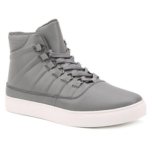 PU Leather Striped Tie Up Boots - GRAY 43