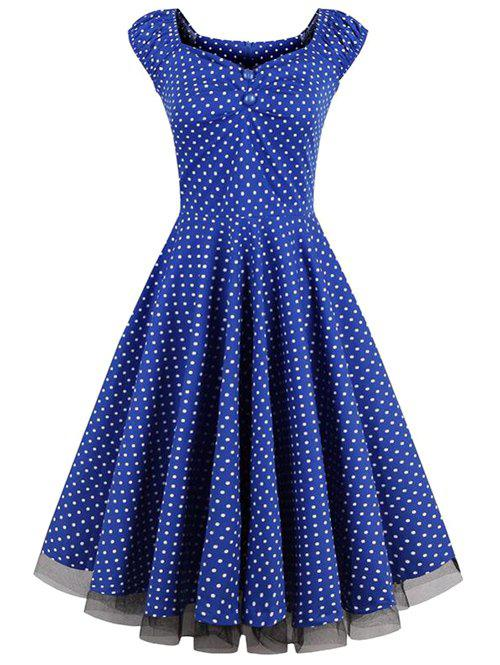 Sweetheart Neck Polka Dot Lace Insert Swing Dress - ROYAL XL
