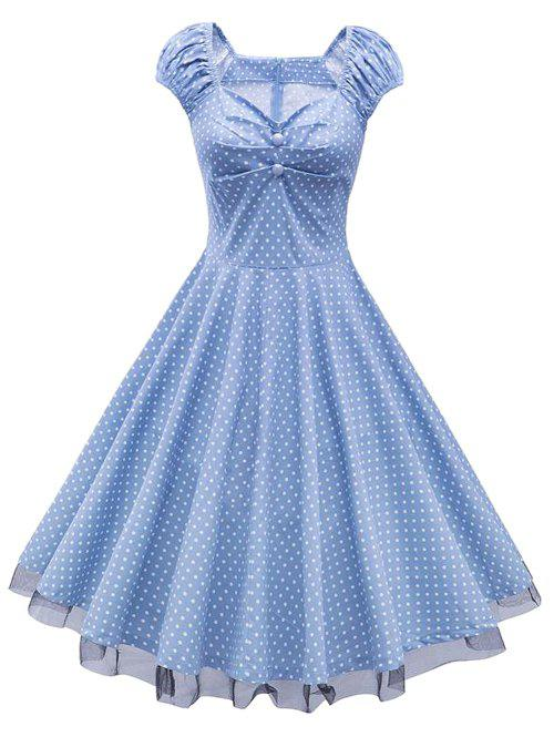 Sweetheart Neck Polka Dot Lace Insert Swing Dress - CLOUDY 2XL