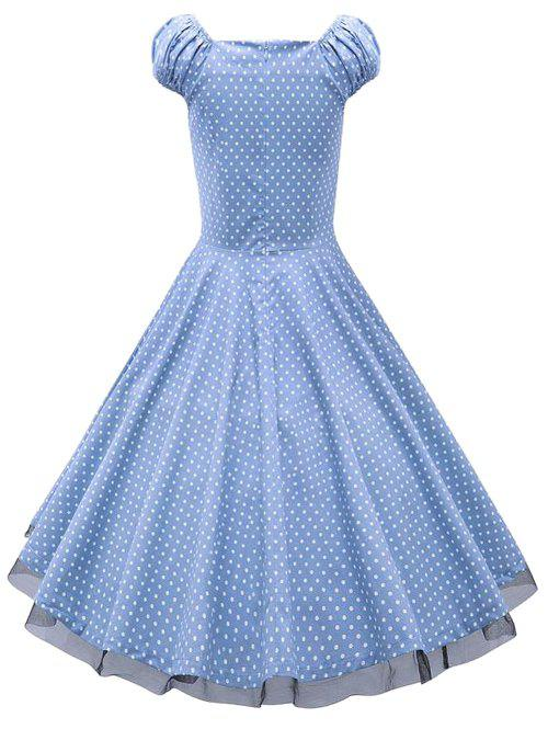 Sweetheart Neck Polka Dot Lace Insert Swing Dress - CLOUDY L