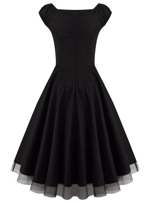 Lace Panel  Ruched Swing Dress - BLACK 2XL