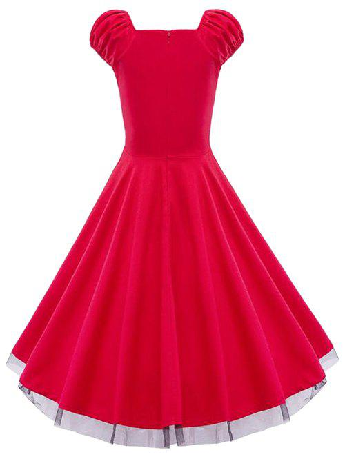 Lace Panel  Ruched Swing Dress - RED XL