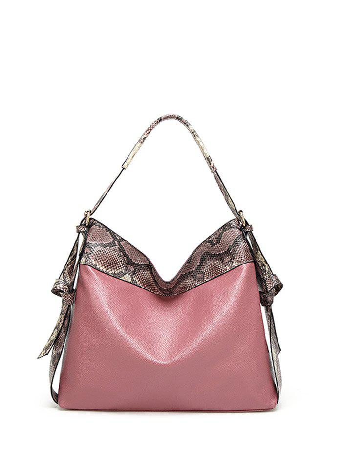 PU Leather Snake Pattern Panel Shoulder Bag - PINK