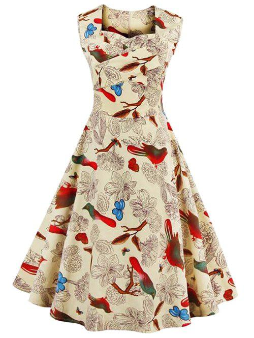 Sleeveless Flower Print Vintage Swing Dress - LIGHT YELLOW M