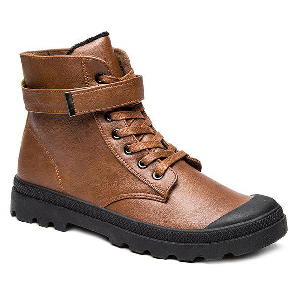 PU Leather Metal Tie Up Boots - BROWN 44