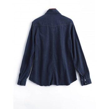 Faux Gem Button Long Sleeve Field Shirt - MIDNIGHT M