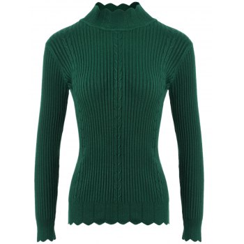 Drop Shoulder Scalloped Ribbed Sweater