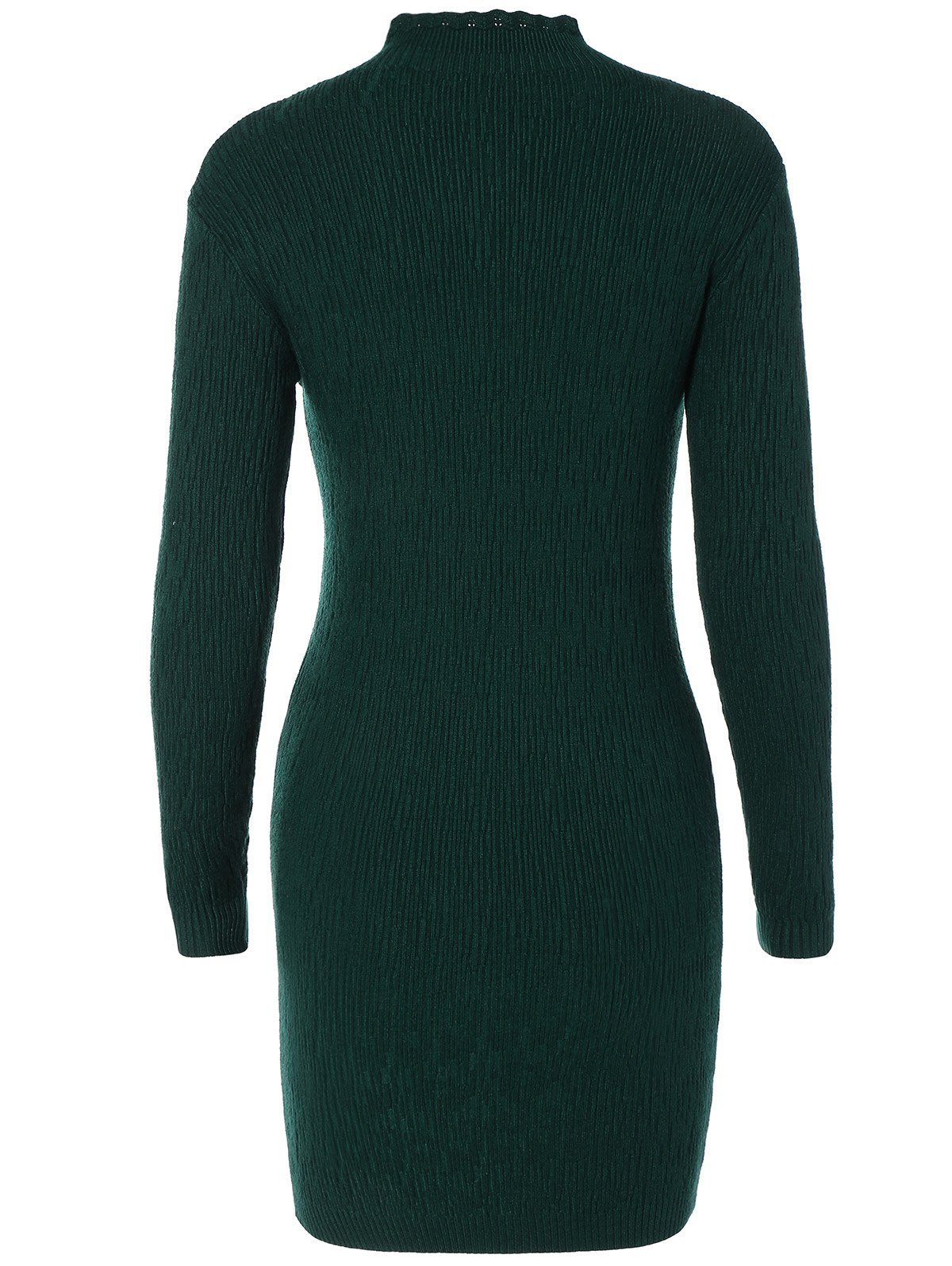 Ruffle Long Sleeve Fitted Sweater Dress - BLACKISH GREEN ONE SIZE