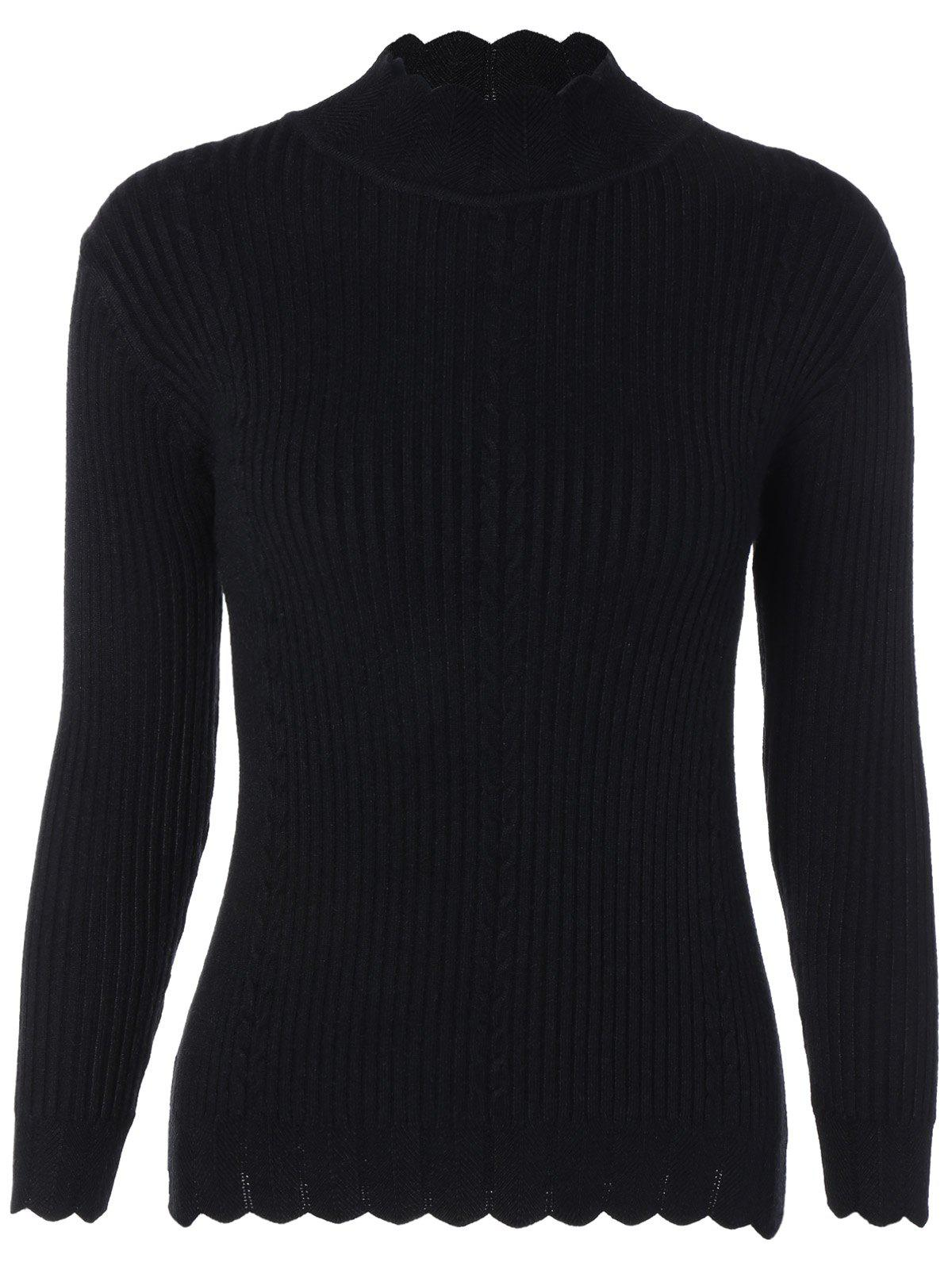 Drop Shoulder Scalloped Ribbed Sweater - BLACK ONE SIZE