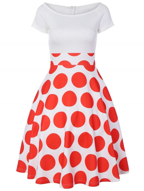 Off The Shoulder Polka Dot A Line Dress - RED L