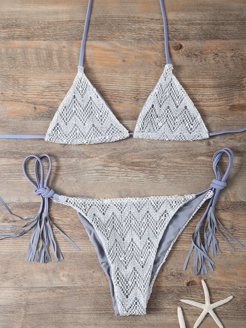 Halter Fringe High Cut Bikini - GRAY M