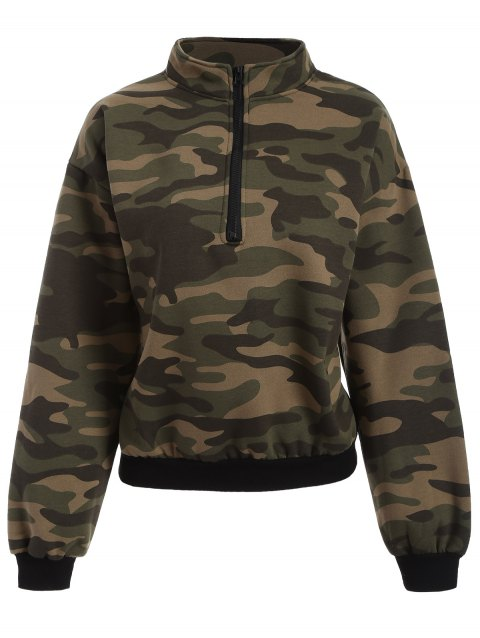 Drop Shoulder Camouflage Hoodie - CAMEL ONE SIZE