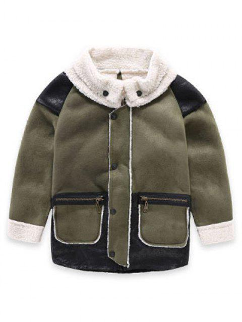 Kids Fuax Leather Fleece Coat - GREEN 100
