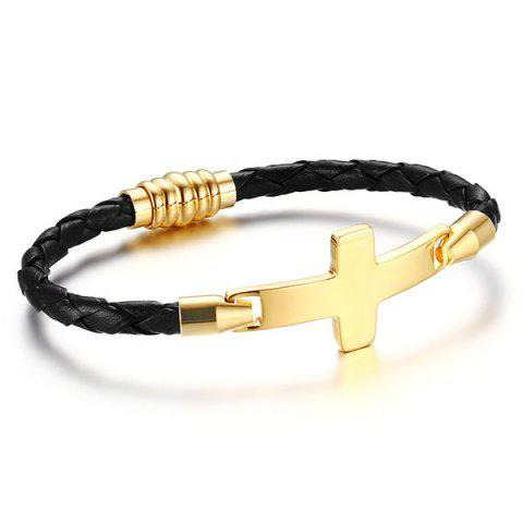 Artificial Leather Crucifix Braid Bracelet - BLACK