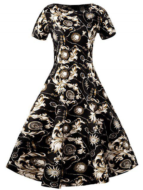 Slim Fit Ornate Print Swing Dress - BLACK M