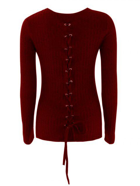 Lace Up Ribbed Knit Sweater - WINE RED M