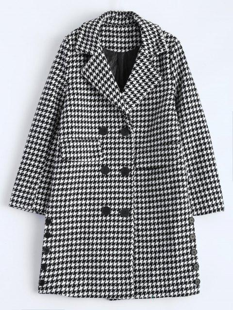 Lapel Houndstooth Double Breasted Coat - WHITE/BLACK M