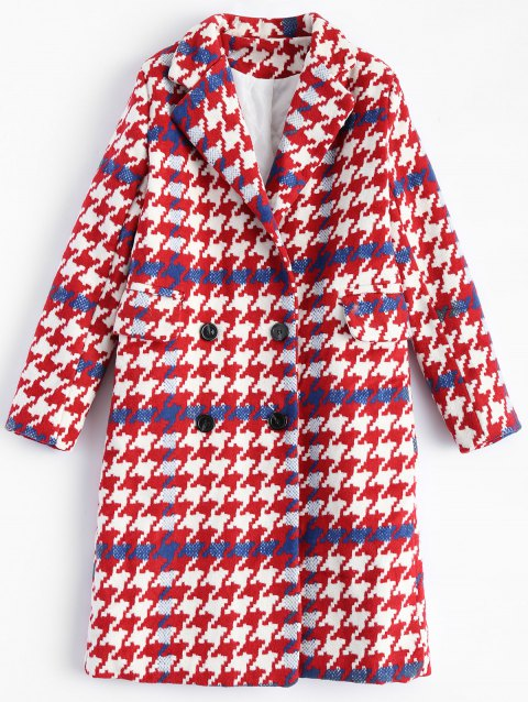 Lapel Houndstooth Double Breasted Long Coat - PLAID M