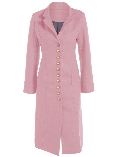 Lapel Button Up Long Coat - PINK M
