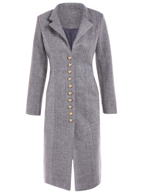 Lapel Button Up Long Coat - GRAY L