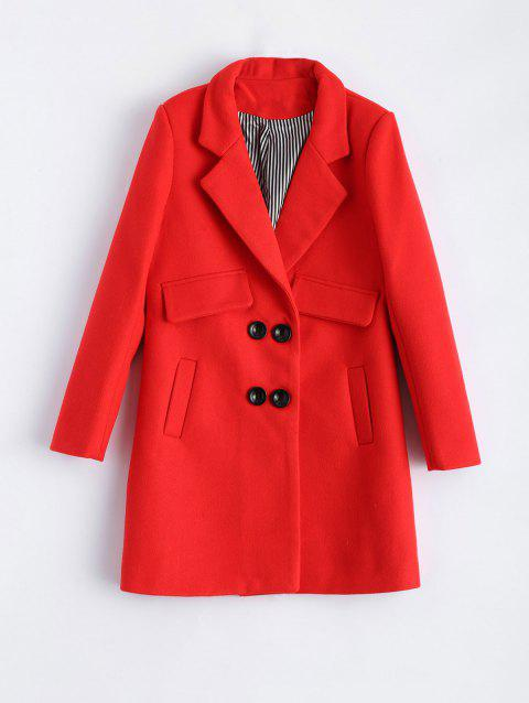 Lapel Candy Color Pea Coat - RED M