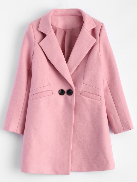 Lapel Candy Color Wool Blend Coat - PINK XL