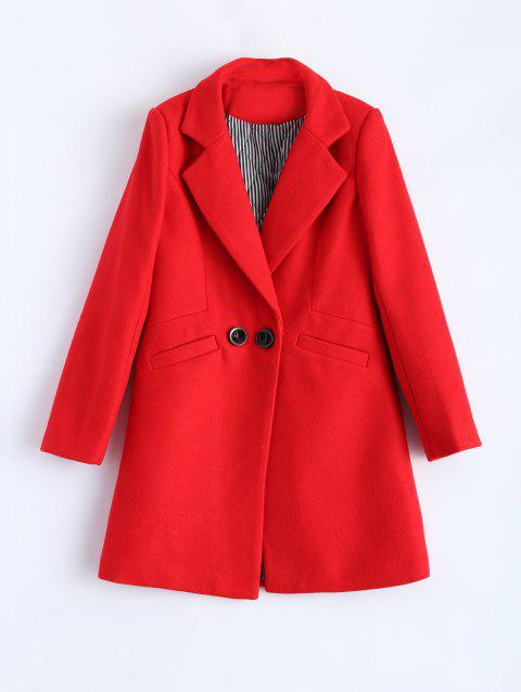 Lapel Candy Color Wool Blend Coat - RED XL