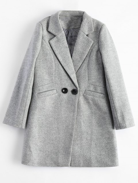 Lapel Candy Color Wool Blend Coat - GRAY XL