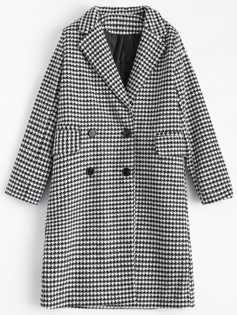 Double Breasted Lapel Houndstooth Coat - PLAID M